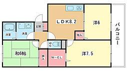 大阪府豊中市宮山町1丁目の賃貸アパートの間取り