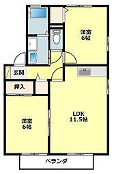 愛知県岡崎市真伝町の賃貸アパートの間取り