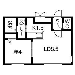 札幌市営東西線 円山公園駅 徒歩6分の賃貸マンション 4階1LDKの間取り