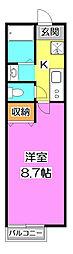 西武池袋線 秋津駅 徒歩12分の賃貸アパート 1階1Kの間取り