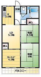 東京都世田谷区粕谷2丁目の賃貸マンションの間取り