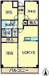 奈良県奈良市西登美ヶ丘2丁目の賃貸マンションの間取り