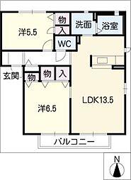 サン ステージ A棟[2階]の間取り