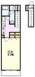 JR中央線 国立駅 徒歩14分の賃貸アパート 2階1Kの間取り