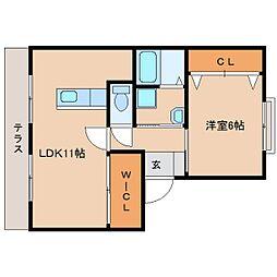 近鉄天理線 天理駅 徒歩2分の賃貸アパート 1階1LDKの間取り