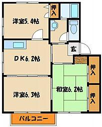 安井ハイツB・C[1階]の間取り