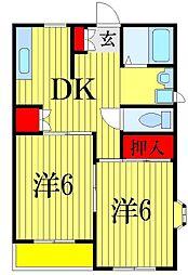 ラレーヌ津田沼[2階]の間取り