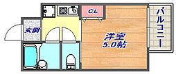 兵庫県神戸市灘区上河原通3丁目の賃貸アパートの間取り