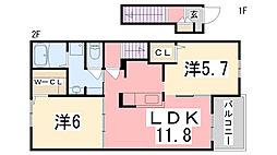 兵庫県揖保郡太子町馬場の賃貸アパートの間取り