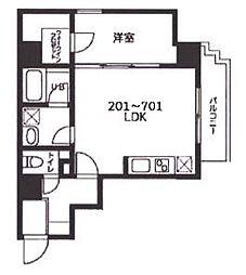 東急東横線 反町駅 徒歩3分の賃貸マンション 5階1LDKの間取り