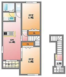 ローランギャロU[2階]の間取り