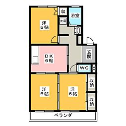 スカイビレッジ六番館[3階]の間取り