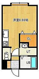 東林ハイツB棟 1階ワンルームの間取り