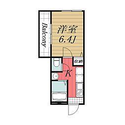 JR成田線 成田駅 徒歩15分の賃貸アパート 2階1Kの間取り