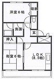 兵庫県加古川市尾上町長田の賃貸マンションの間取り