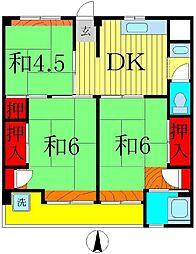 ビレッジハウス栗ヶ沢2号棟[4階]の間取り