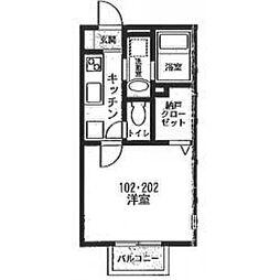 相鉄いずみ野線 緑園都市駅 徒歩12分の賃貸アパート 1階1Kの間取り