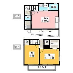 ローズコート安井[1階]の間取り
