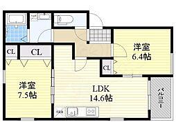 グラツィア堺(旧称 ポラリス堺3) 2階2LDKの間取り