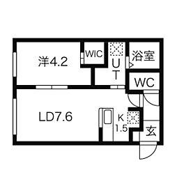 サムティ147(旧カレラ147) 3階1DKの間取り