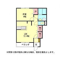 愛知県一宮市九品町3丁目の賃貸アパートの間取り
