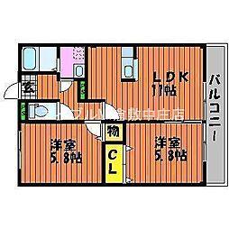 岡山県岡山市北区久米丁目なしの賃貸マンションの間取り