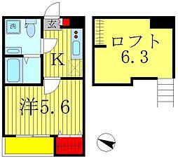 千葉県松戸市久保平賀の賃貸アパートの間取り