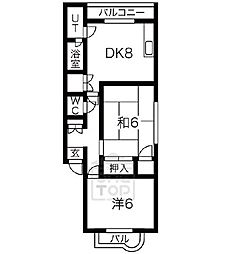 千里山西コーポ第3ビル 1階2DKの間取り