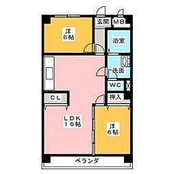 ロイヤルマンション丁田[3階]の間取り