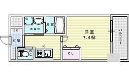 Osaka Metro御堂筋線 江坂駅 徒歩5分の賃貸マンション 8階1Kの間取り