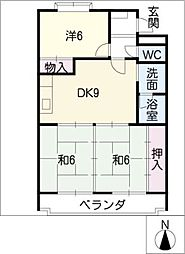 メルローズ1・2号館[3階]の間取り