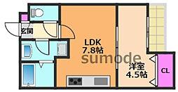 ロイヤルクオーター 1階1LDKの間取り