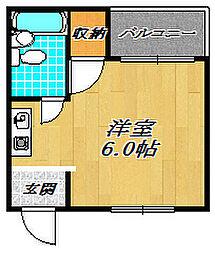 GRACEIII 4階ワンルームの間取り