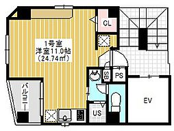 N&C浅草 7階1Kの間取り