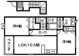 大阪府貝塚市東山4丁目の賃貸アパートの間取り