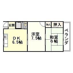 富尾ハイツ[1階]の間取り