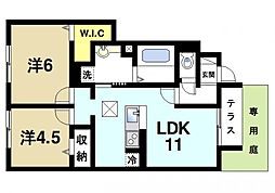 ラルーチェ1[1階]の間取り