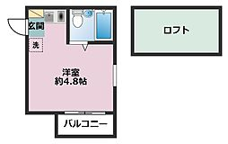 神奈川県横浜市鶴見区下末吉4丁目の賃貸アパートの間取り