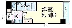 S-FORT福島Libre 4階1Kの間取り