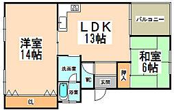 兵庫県伊丹市行基町3丁目の賃貸マンションの間取り