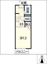 メゾンドールA棟 2階1Kの間取り