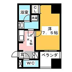 愛知県名古屋市中区栄4の賃貸マンションの間取り