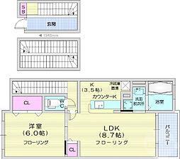 JR仙石線 陸前高砂駅 徒歩22分の賃貸アパート 3階1LDKの間取り