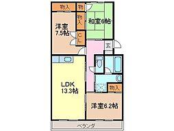 静岡県富士市森島の賃貸マンションの間取り