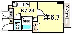 ラ・フォンテ三宮旭 4階1Kの間取り