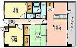 岡山県岡山市北区国体町の賃貸マンションの間取り
