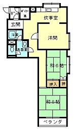 下加茂ハウス[2-A号室]の間取り