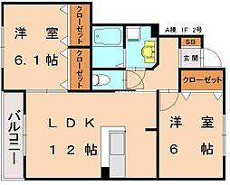 仮)三倉コーポ B[1階]の間取り