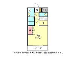 愛知県一宮市木曽川町黒田字松山東の賃貸アパートの間取り