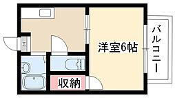 愛知県名古屋市昭和区川名町1丁目の賃貸アパートの間取り